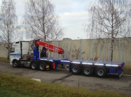 3 axles extendable semi-trailer with crane on goose-neck Volvo 6x4 + crane DIEBOLT D28-91