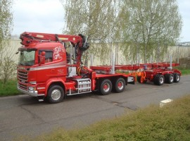 Forestry equipment for 3 axles forestry dolly Scania 6x4 + crane Tajfun-Liv 300K81 + forestry platform