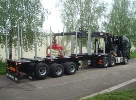 3 axles extendable semi-trailer with crane on goose-neck Volvo 6x4 + crane Epsilon E380L91