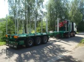 3 axles extendable semi-trailer with crane on goose-neck Crane DIEBOLT D28-87