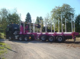 3 axles extendable semi-trailer with crane on goose-neck Volvo 6x4 + crane DIEBOLT D28-87