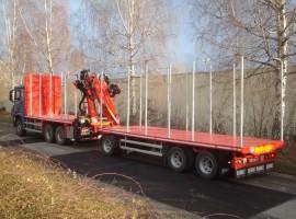 Equipement forestier avec remorque 3 essieux plateau Mercedes Benz 6x4 + Grue Epsilon Q170Z96 + R31700