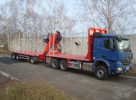 Forestry equipment with 3 axles platform trailer Mercedes Benz 6x4 + crane Epsilon Q170Z96 + R31700
