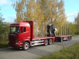Forestry equipment with 3 axles platform trailer Scania 6x4 + crane Tajfun-Liv L190Z96 cabin + R31700