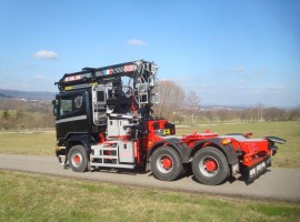 Aufbau fur Zweiachs-Langholznachläufer mit Rohrdeichsellenkung Scania 6x4 + Krane DIEBOLT D28-87 + AR2630