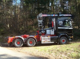 Forestry equipment for 2 axles forestry dolly with drawbar Scania 6x4 + crane DIEBOLT D28-87 + AR2630