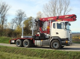 Forestry equipment for 3 axles forestry dolly Scania 6x4 + crane Tajfun-Liv 300K87
