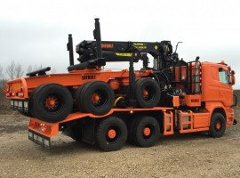 Forestry equipment for 3 axles forestry dolly Scania 6x4 + crane Tajfun-Liv 300K99