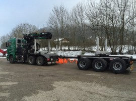 Forestry equipment for 3 axles forestry dolly with drawbar Scania 6x4 + crane Epsilon S300L98 + AR5650