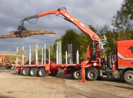 3 axles extendable semi-trailer with crane on goose-neck DAF 6x4 + crane DIEBOLT D35.93