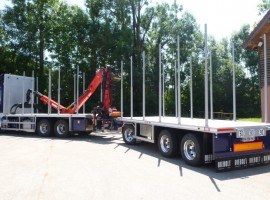 Forestry equipment with 3 axles platform trailer Scania Benz 6x4 + crane Epsilon Q170Z96 + R31700