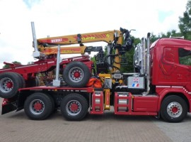 Forestry equipment for 2 axles forestry dolly Scania 6x4 + crane Tajfun-Liv 300K99