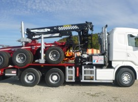 Forestry equipment for 3 axles forestry dolly Scania 6x4 + crane Tajfun-Liv 300K81 + AR3670