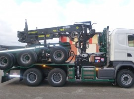 Forestry equipment for 3 axles forestry dolly Scania 6x4 + crane Tajfun-Liv 300K87 + AR5670