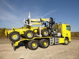 Aufbau fur Dreiachs-Langholznachläufer Scania 6x4 + Krane Tajfun-Liv 300K99 + AR5670