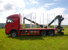 Forestry equipment with 3 axles platform trailer Mercedes + crane Tajfun-Liv L190Z96 + R31700
