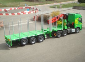 3 axles extendable semi-trailer with crane on goose-neck Volvo 6x4 + crane Epsilon S300L98