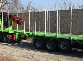 3 axles extendable semi-trailer with crane on goose-neck Volvo 6x4 + crane Epsilon S270L98