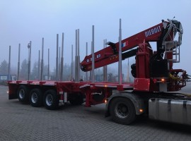 3 axles extendable semi-trailer with crane on goose-neck Volvo 6x2 + crane DIEBOLT D24-87
