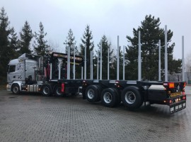 3 axles extendable semi-trailer with crane on goose-neck Scania 6x4 + crane DIEBOLT D40-91