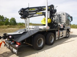 Forestry equipment for 3 axles forestry dolly with drawbar Man 6x4 + crane Tajfun-Liv 320K81 + AR5650