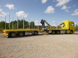 Forestry equipment with 3 axles platform trailer Scania 6x4 + crane Tajfun-Liv L190Z96 + R31700