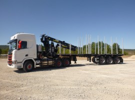 Forestry equipment with Steered 3 axles extendable semi-trailer Scania 6x4 + crane Tajfun-Liv 320K87 + 3 axles extendable semi-trailer
