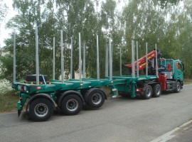 Forestry equipment with Steered 3 axles extendable semi-trailer Scania 6x4 + crane Tajfun-Liv 320K99 + 3 axles extendable semi-trailer