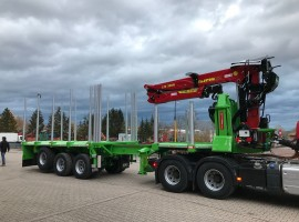 3 axles extendable semi-trailer with crane on goose-neck -- Volvo 6x4 + crane Tajfun-Liv 320K99 + 3 axles extendable semi-trailer
