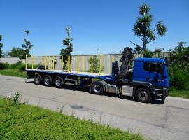 Steered 3 axles extendable semi-trailer MAN 6x4 + crane Tajfun-Liv Q180Z95 Triple Z + Steered 3 axles semi-trailer weight:t 12.2 T