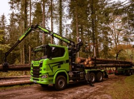 Forestry equipment for 3 axles forestry dolly Scania 6x4 + crane Tajfun-Liv 320K87 + AR3670