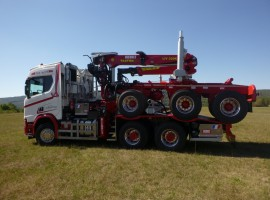Forestry equipment for 3 axles forestry dolly Scania 6x4 + crane Tajfun-Liv 320K99 + AR3670