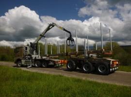 Forestry equipment for 3 axles forestry dolly Mercedes 6x4 + crane Tajfun-Liv 320K87 + AR5670