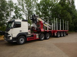 Hydraulic equipment and 3 axles extendable semi-trailer with crane on goose-neck Volvo 6x4 + crane Tajfun-Liv 300K87 + 3 axles extendable semi-trailer