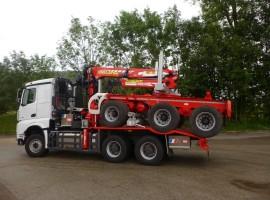Forestry equipment for 3 axles forestry dolly Mercedes 6x4 + crane Tajfun-Liv 320K81 + AR5670