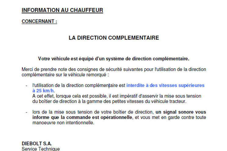 Direction hydraulique – Notice conducteur